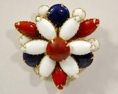 1950s War Era Red White & Blue Glass Cabochon Domed Floral Patriotic Design Vintage Pin Brooch