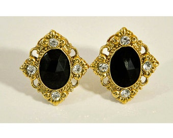 1990s Jewelry Co. Black and Clear Faceted Rhinestone Gold Tone 1928 Jewelry Co. Vintage Clip Earrings