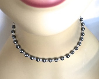 Grey Pearl Choker Style Necklace with Swarovski Crystals, Pearl Necklace