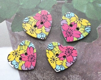 4PCS Wooden Buttons - Retro Shabby Pink Yellow Cheery Blossom Floral Heart Shape Button (4PCS, D=2.3cm)