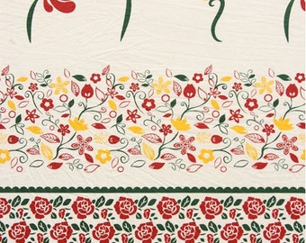 Home Decor Linen -Shabby Chic Nordic Europe Hungarian Retro Spring Rose Floral Flower Stripe Patchwork Zakka Fabric(1 Panel, 17.7x55 inches)