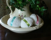 White Powder Puffs with Pastel Ribbons
