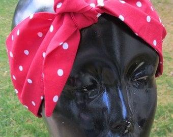 Rosie red polka dot headband hair wrap bandana Lucy Minnie 50's cloth original