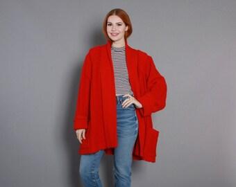 80s RED Oversized SWEATER COAT / 1980s Dramatic Full Swing Cardi