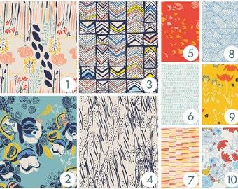 Crib Bedding - Flower Meadow Custom Baby Bedding -  - Peach, Coral, Orange, Navy, Blue, Yellow