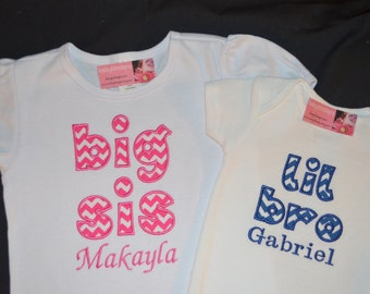 Personalized Big Sis TShirt and Lil Bro Bodysuit Set of Sibling Shirts