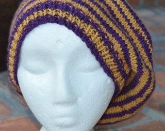 College and School - Purple and Gold Knitted Beret Slouch Hat