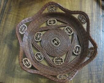 Nuts Galore Pine Needle Basket featuring 13 black walnut slices