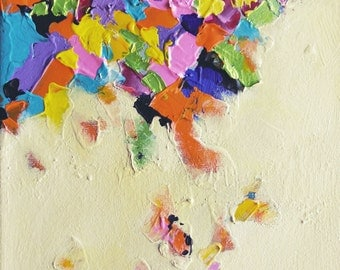 """Falling Rainbow Original textured abstract painting  9""""x7"""""""