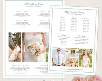 Wedding Photographer Packages and Pricing Guide Template Set - Photo Marketing Photoshop Templates - INSTANT DOWNLOAD