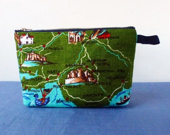 Harlech Castle and Welsh map reclaimed linen fabric zipper purse, cosmetics or notions, Cardiff, Aberdare, Porthcawl