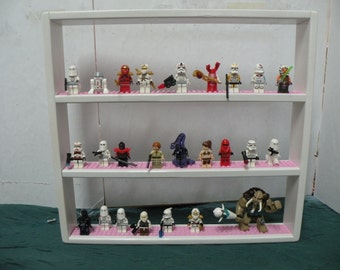 Handcrafted Solid Pine Gloss White Painted, Legos Minifigure  Display Shelf w/ Pink 4x wide  Legos plates