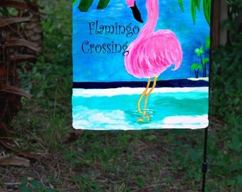 Flamingo garden flag Etsy