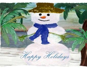 Tropical Snowman Holiday Fleece Throw Blanket from my original art