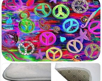 Psychedelic Peace Sign Plush Non Skid Floor Mat From My Art