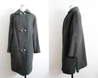 "1960s Dark Grey ""Ohrbach's"" Wool Coat"