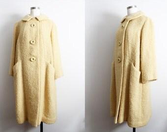 1960s Light Yellow Wool Coat