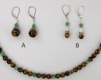 Turquoise and Tiger Eye Necklace and Earrings