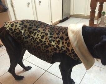 Leopard Fleece Dog Coat