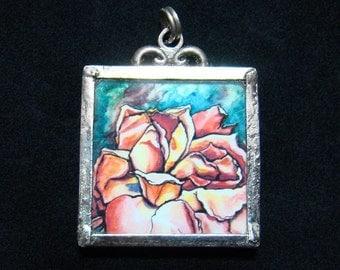 Petal Luna - Pendant - soldered art and glass