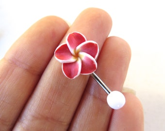 Belly Button Ring Jewelry. Red Hawaiian Flower Plumeria Belly Button Ring Hawaii Navel Stud Jewelry Bar Barbell Piercing Tropical Hibiscus