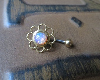 Opal Belly Button Ring Jewelry, Pink Fire Opal Flower Daisy Belly Button Ring Navel Piercing Stud Bar Barbell Belly Ring Jewelry