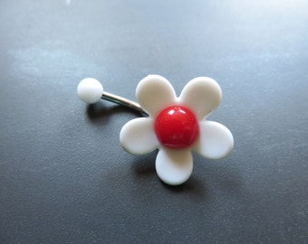 Belly Button Ring Jewelry, White Red Cherry Blossom Mod Flower Power Daisy Belly Button Jewelry Navel Ring Piercing Bar Barbell Hippie Gold