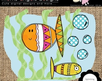 Swimming in the ocean clipart illustration - COMMERCIAL USE OK