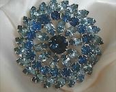 Large Shades of Sapphire Blue Rhinestone Brooch