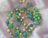 Vintage Hong Kong Plastic Flower and Bead Necklace