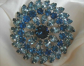 Large Shades of Sapphire Blue Rhinestone Brooch
