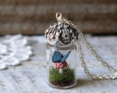 RESERVED LISTING Blue Morpho Butterfly and Red Spotted Toadstool Mushroom Tiny Glass Terrarium Necklace by Woodland Belle
