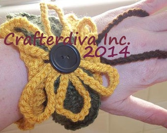 Cuff Bracelet (Brown with Yellow trim) (Flower and leaves) Handcrocheted