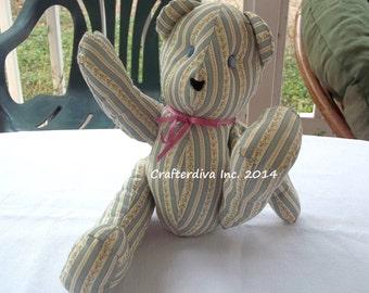 Teddy Bear, Handmade Brear, Fabric Bear, Bear Doll, Toy Bear,