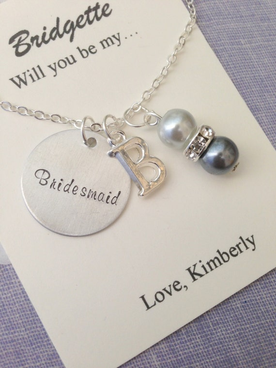 Ask bridesmaid initial flower girl handstamped charm for Jewelry box with initials