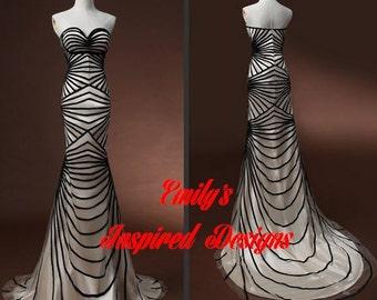 Custom Made Black Ribbon Geometric Formal Gown