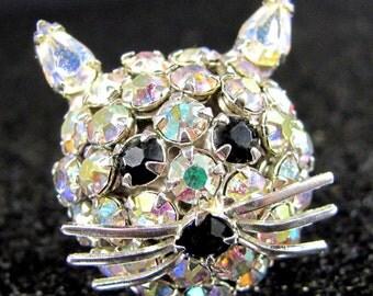 Vintage JOSEPH WARNER CAT Head Pin Aurora Borealis Rhinestone Brooch
