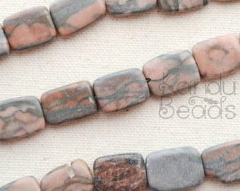 CLERANCE 50% OFF Red and Gray Jasper Horizontally Drilled Rectangle Shape Jasper Beads