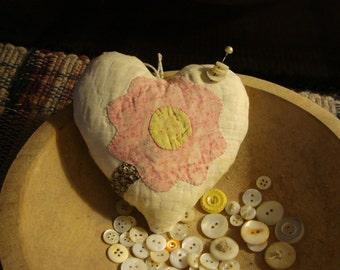 Antique 19th Century Flower Quilt Heart Pillow Pinkeep