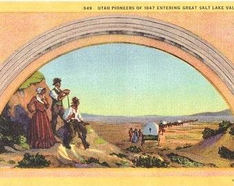 Vintage Utah Postcard - Pioneers entering Great Salt Lake Valley in 1847 (Unused)