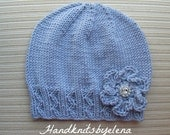 Knitting Pattern #166 Lavender Hat with Zig Zag Ribbing and a Crochet Flower