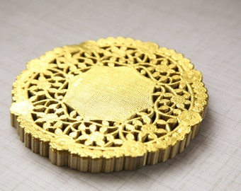 """50 - 4"""" Round GOLD Paper Lace Doilies"""