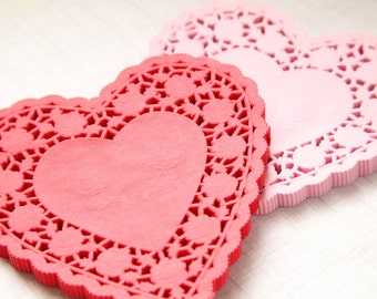 "25 - 6"" RED HEART Paper Lace Doilies"