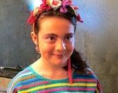 Boho Mexico Rainbow Dress M, Frida Khalo Costume Ladies Small, Rainbow Stripe Lounge Dress M, Festive Halloween Headband