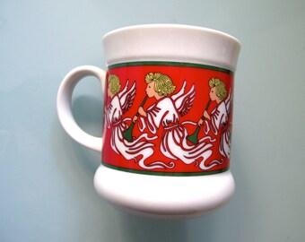 Christmas Angels Mug, Takahashi Cup Musical Angels, NOEL Mug Red Green
