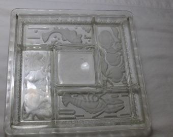 Mid Century Divided Glass Sushi or Relish Tray, Lobster, Fish Design