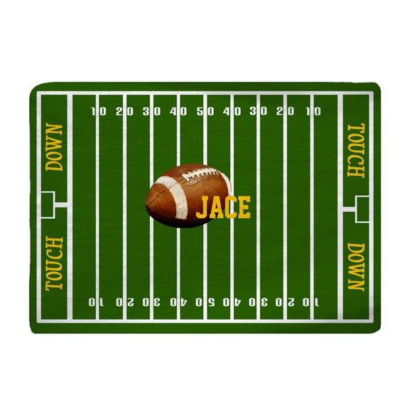 Custom Personalized Football Field Plush Fuzzy Area Rug Size