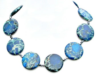 STATEMENT Necklace, Blue Jasper Necklace, Chunky Jasper, Midnight Blue, High Fashion, Couture Style by Mei Faith