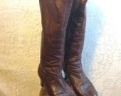Vintage Cherry Brown Leather Boots