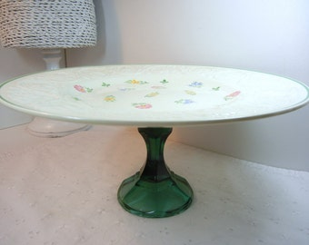 Wedgwood Cake Stand / Patrician pattern / hand painted pastel flowers green leaves / Centerpiece / glass / Upcycled / Wedding decor / Brunch
